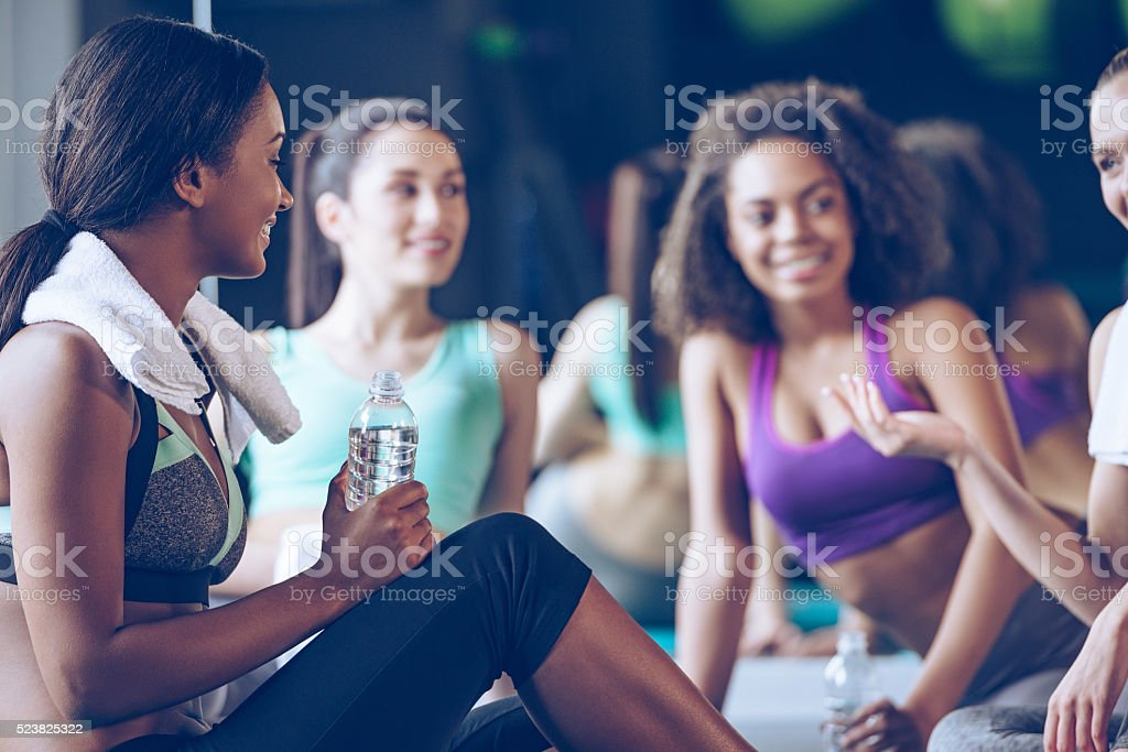 Little chat after workout. stock photo