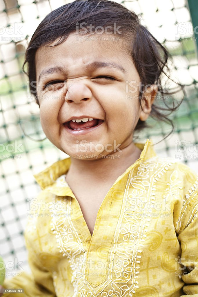 Little Cheerful Asian Indian Boy Child Baby royalty-free stock photo