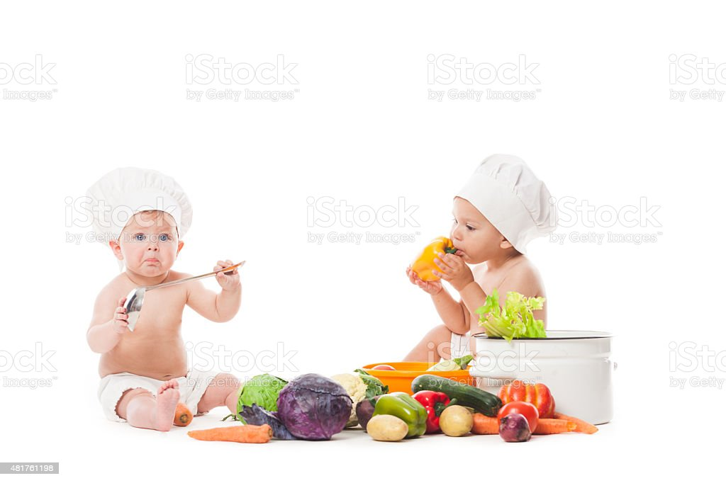 Little chefs cook stock photo