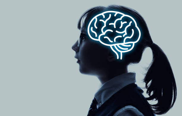 Little child and brain concept. stock photo