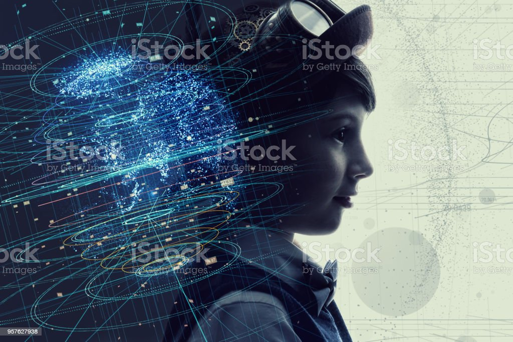 Little child and education concept. AI(Artificial intelligence). stock photo