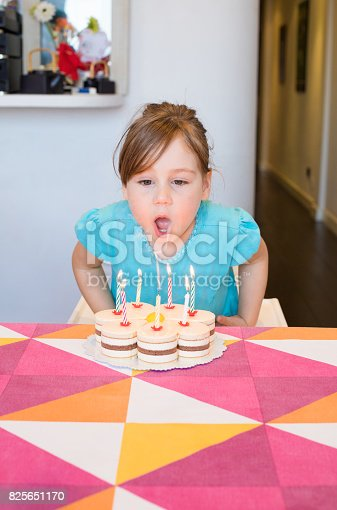 istock little child blowing burning candles on birthday cake 825651170