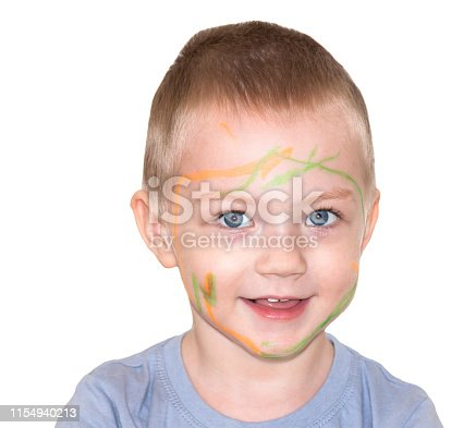 490853703 istock photo little child boy painted on face paint 1154940213