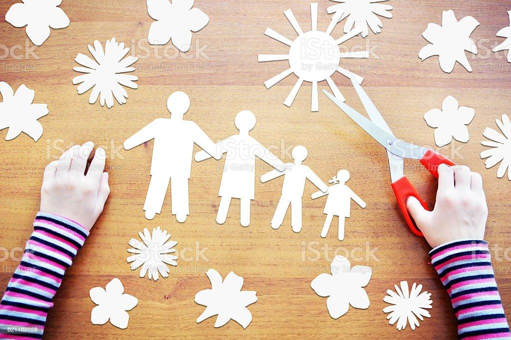 Little child dreaming about happy family photo libre de droits