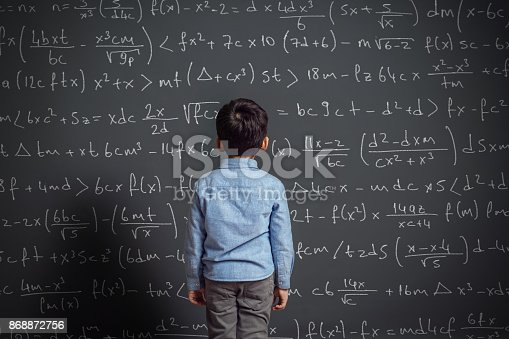 161754253istockphoto Little child in front of huge blackboard 868872756