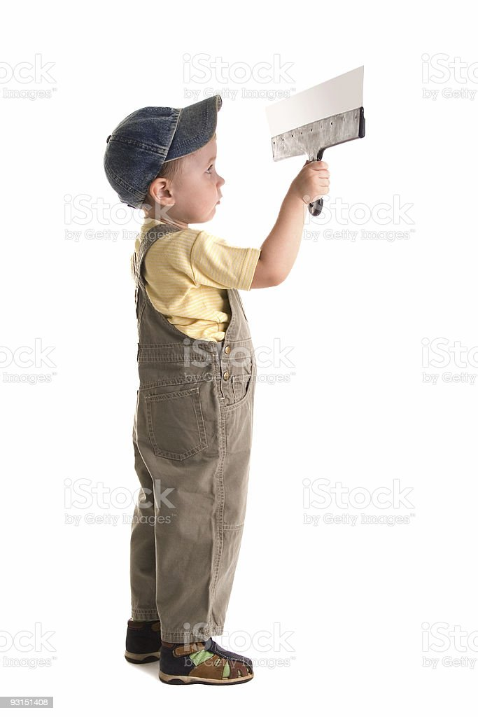 Little child plasterer royalty-free stock photo