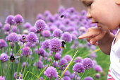 Little child points a finger at a bumblebee on a flower. Baby discovering nature.