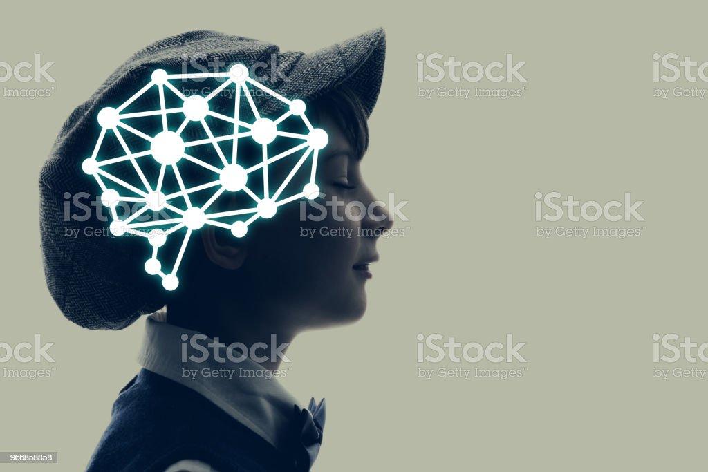 Little child silhouette and AI concept. - foto stock