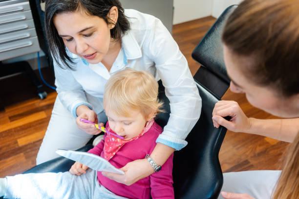 Kleines Kind beobachtet im Spiegel, der vom Zahnarzt behandelt wird – Foto