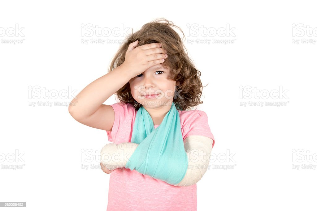 Little child with broken hand stock photo