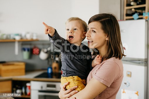 Little kid is hold by his mother. The kid is showing her something and pointing with his finger. They are both excited.