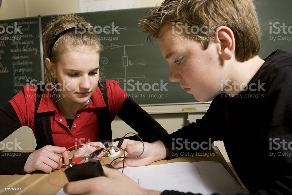 Little children are learning for technician royalty-free stock photo
