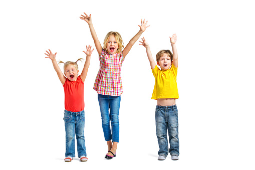 little children on white background stock photo