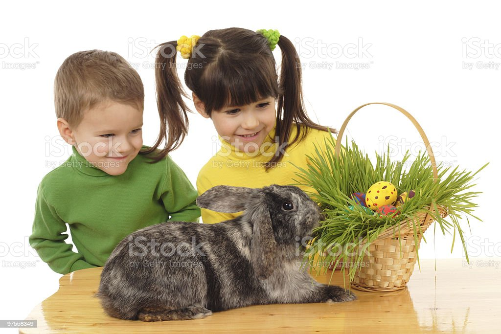 Little children with easter rabbit royalty-free stock photo