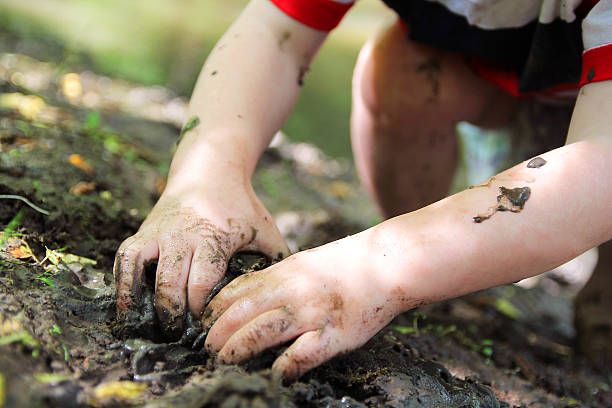 Little Child's Hands Digging in the Mud stock photo