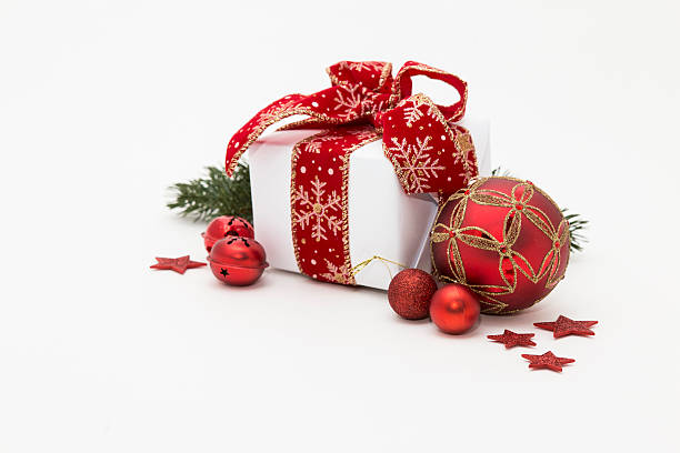 Little christmas present box with decoration stock photo