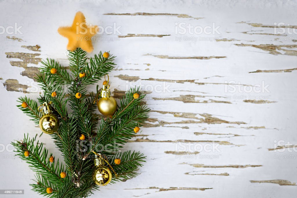 Little Christmas Tree On Wooden Background Stock Photo More