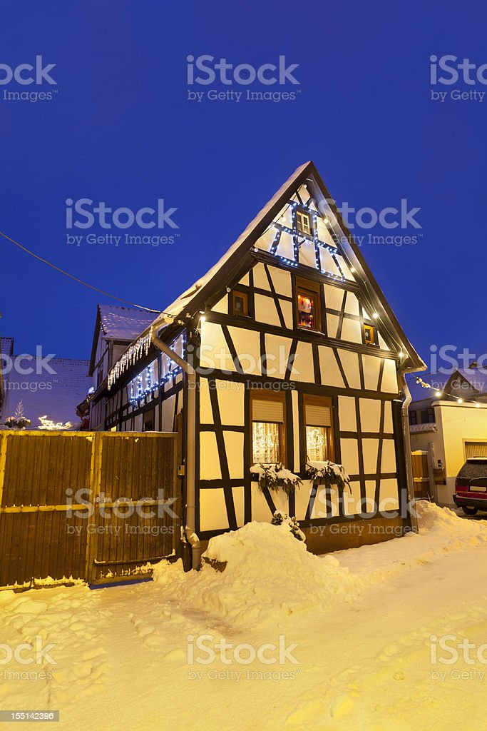 Little Christmassy House At Night royalty-free stock photo