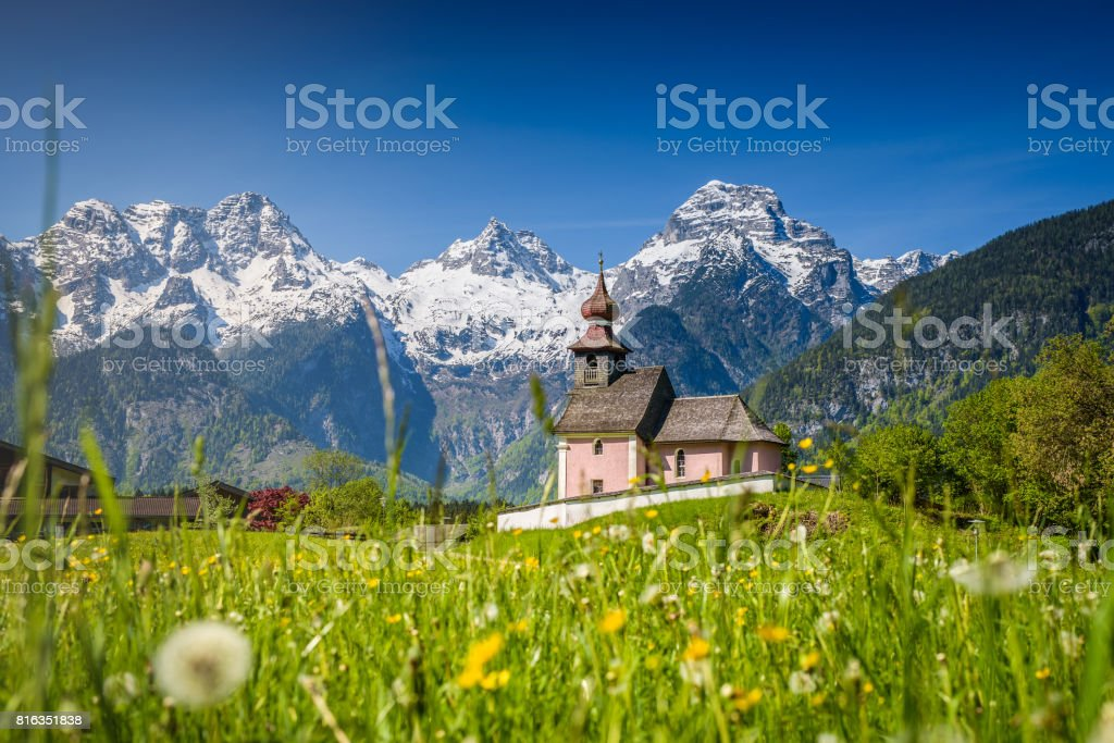 Little church in idyllic austrian landscape, Lofer, Salzburger Land, Austria stock photo