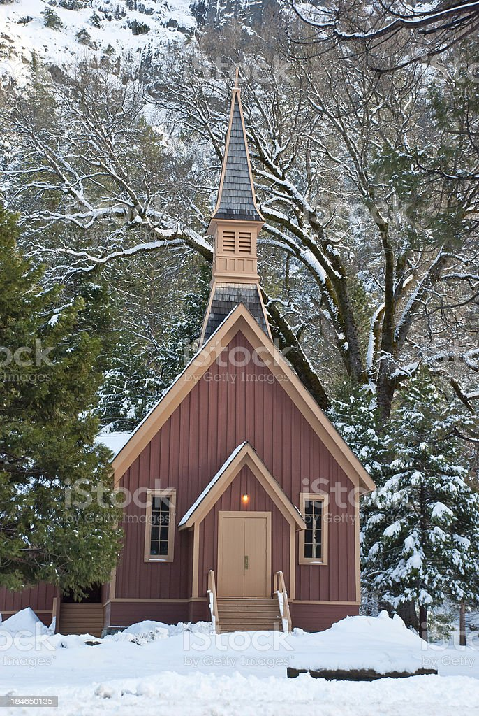 Little Church in the Snow stock photo