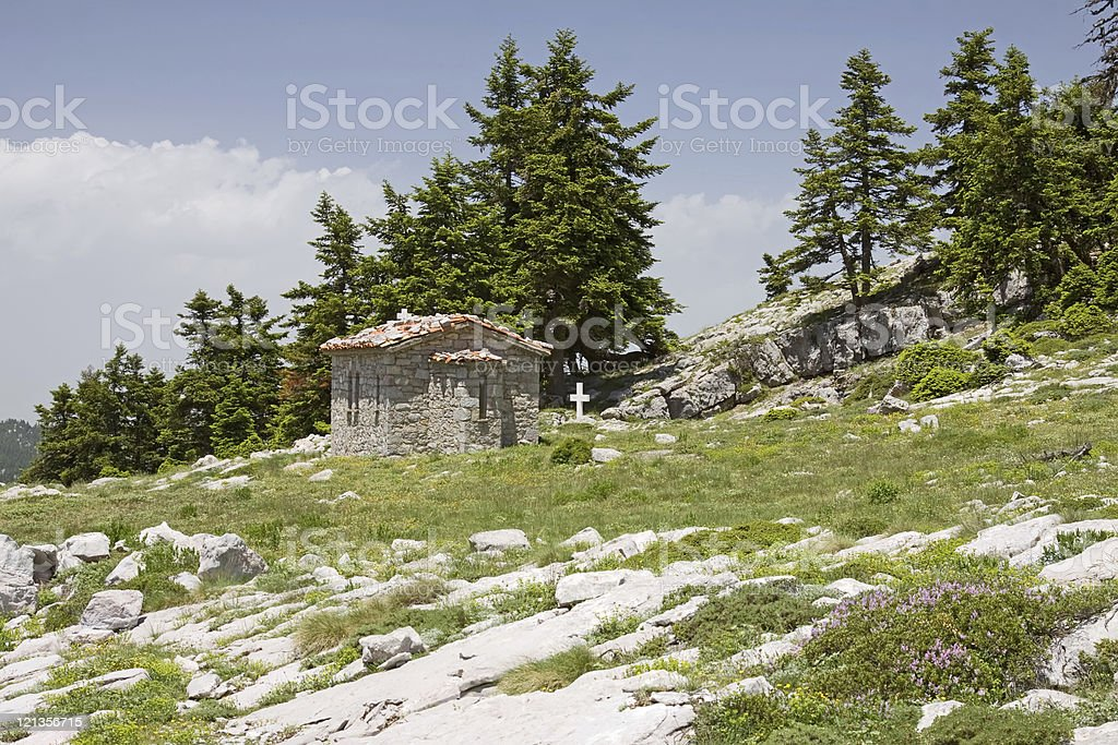 Little Church on Parnassos Mountain stock photo