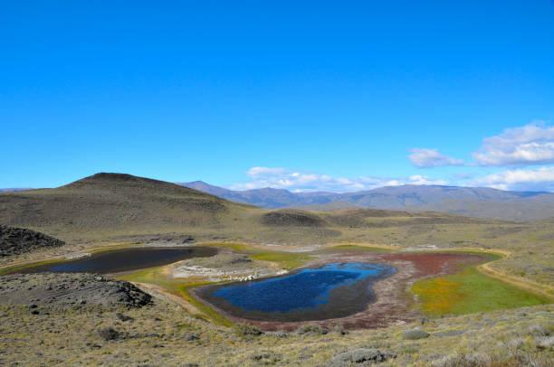 little colorful lake at patagonia's torres del paine national park - półpustynny zdjęcia i obrazy z banku zdjęć