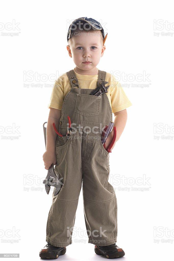 Little construction kid stock photo