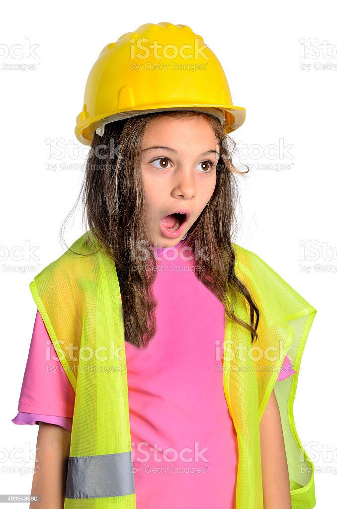 little constructor girl stock photo