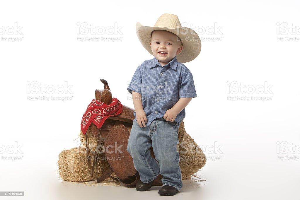 Little cowboy con soporte - foto de stock