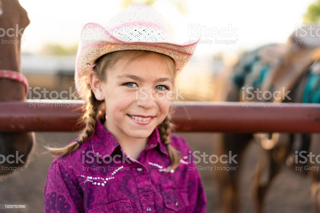 2187537f6 Little Cowgirl Portrait Stock Photo - Download Image Now - iStock