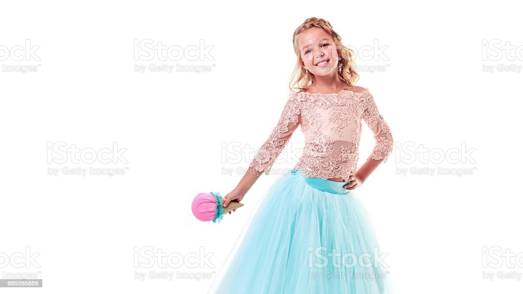 Little curly girl with ice cream in studio isolated royalty-free 스톡 사진