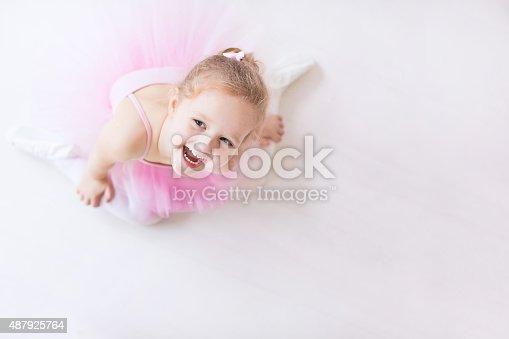 487925730 istock photo Little cute ballerina in pink tutu 487925764