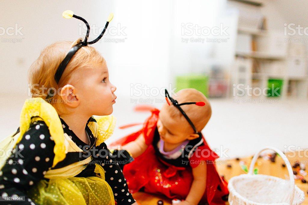 Little cute bee and ladybug stock photo