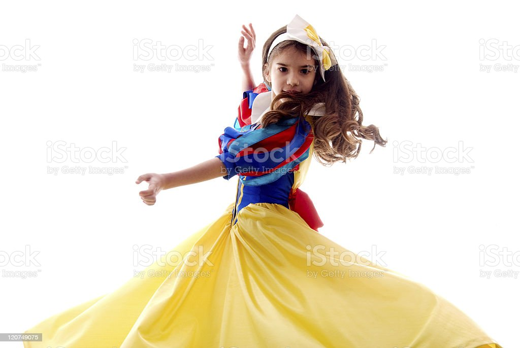 Little Cute Dancing Fairy Girl Over White Background stock photo