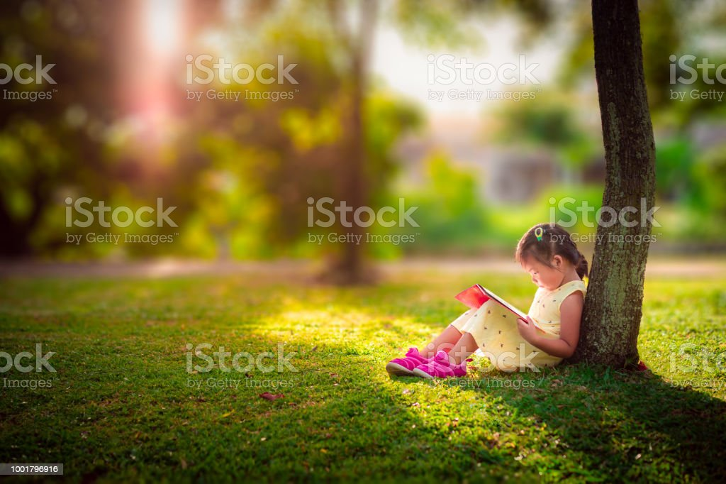 A little cute girl in a yellow dress reading a book sitting under the tree foto stock royalty-free