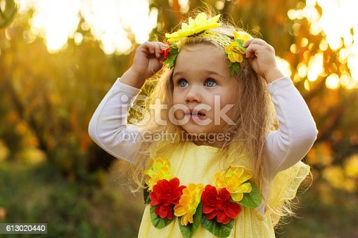 istock Little cute girl in autumn garden with yellow trees 613020440