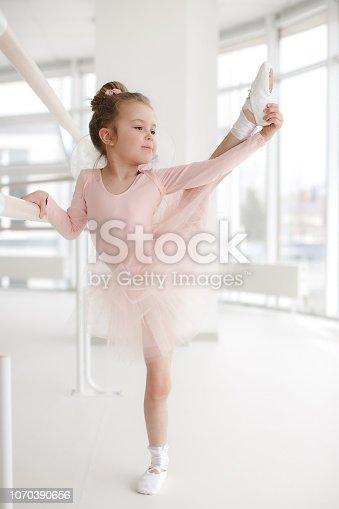 istock Little cute girl in class in ballet studio 1070390656