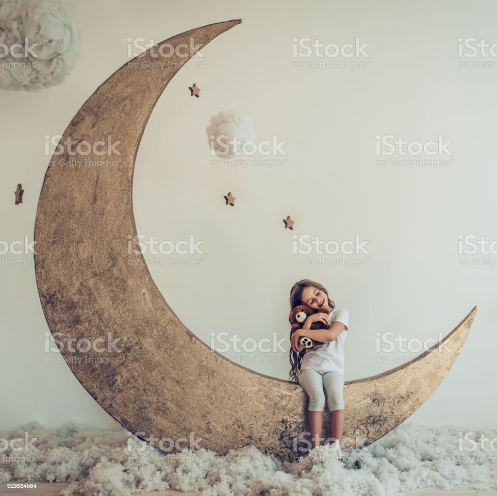 Little cute girl stock photo