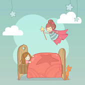 Little cute girl sleeping in her bed and tooth fairy