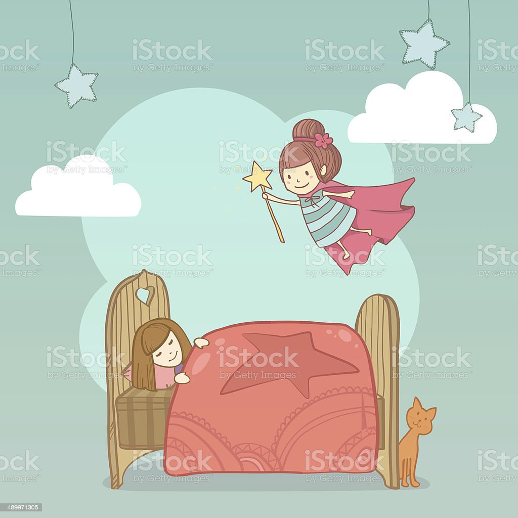 Little cute girl sleeping in her bed and tooth fairy stock photo