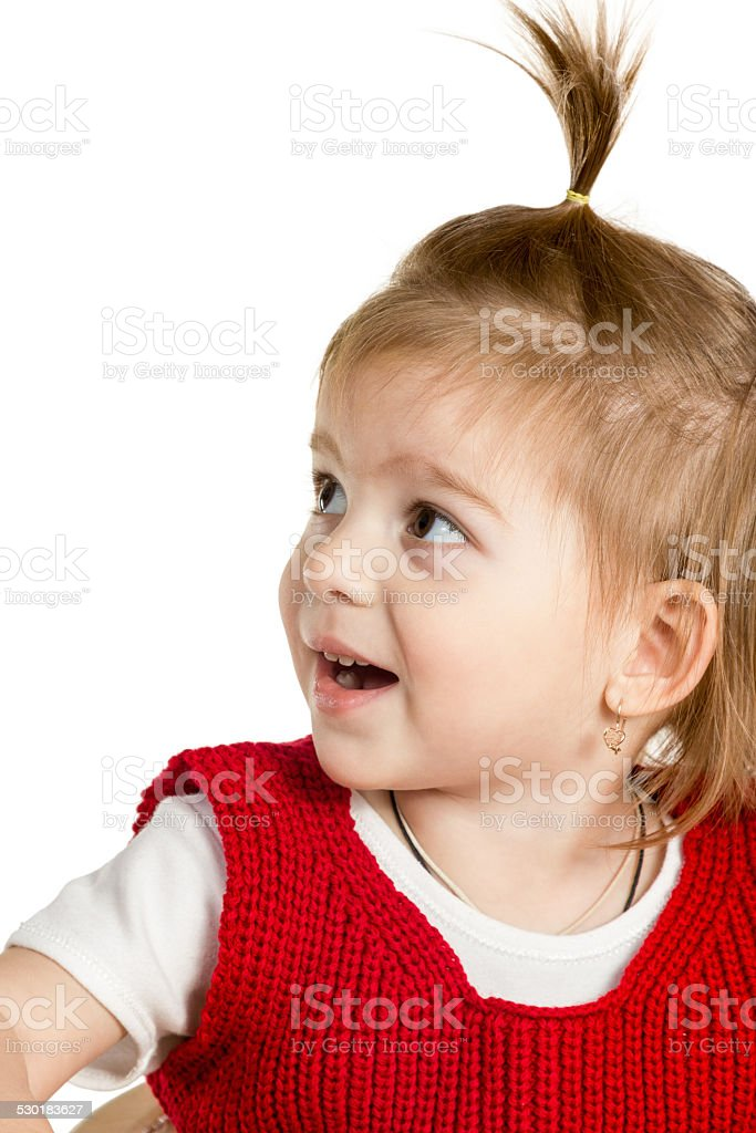 Little cute girl with an open mouth stock photo