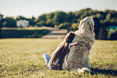Back view of little cute girl is having fun with golden retriever on a green grass. Charming cheerful girl is sitting with dog labrador.