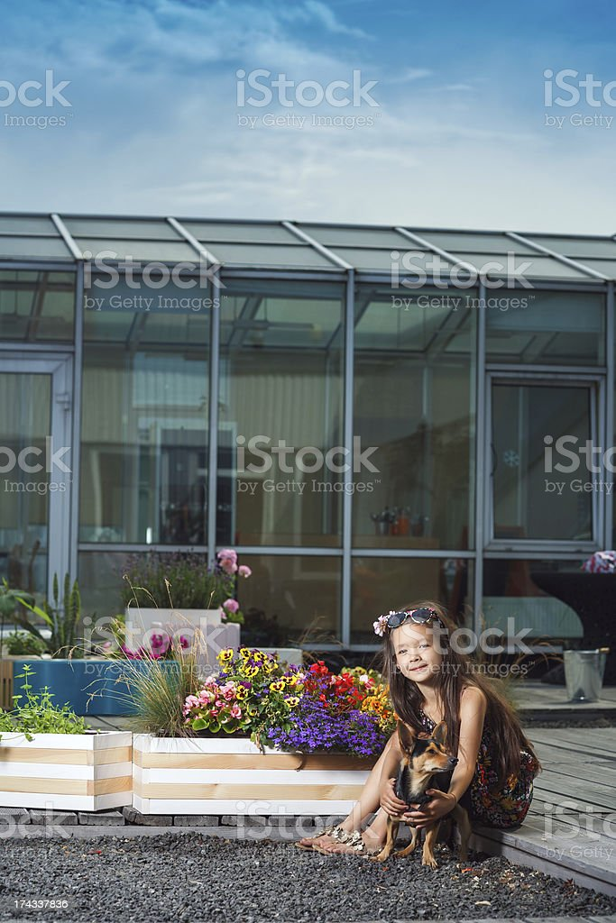 Little cute girl with doggy royalty-free stock photo