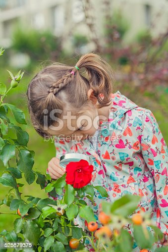 istock little cute girl with magnifying glass examining flower 525879375