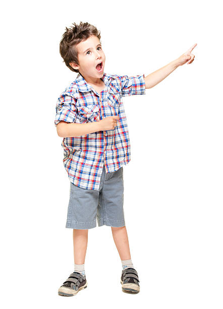 Little excited boy pointing at something stock photo