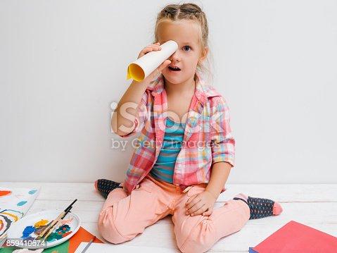 istock Little explorer. Creative girl childhood 859410574