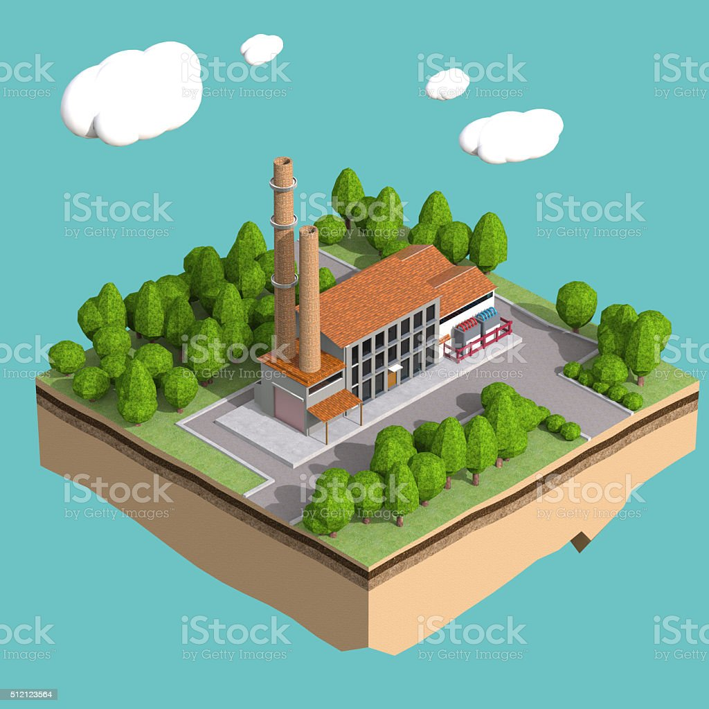 little factory with chimneys surrounded by trees on small island stock photo