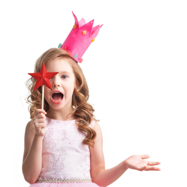 little fairy with magic wand - fairy wand stock photos and pictures