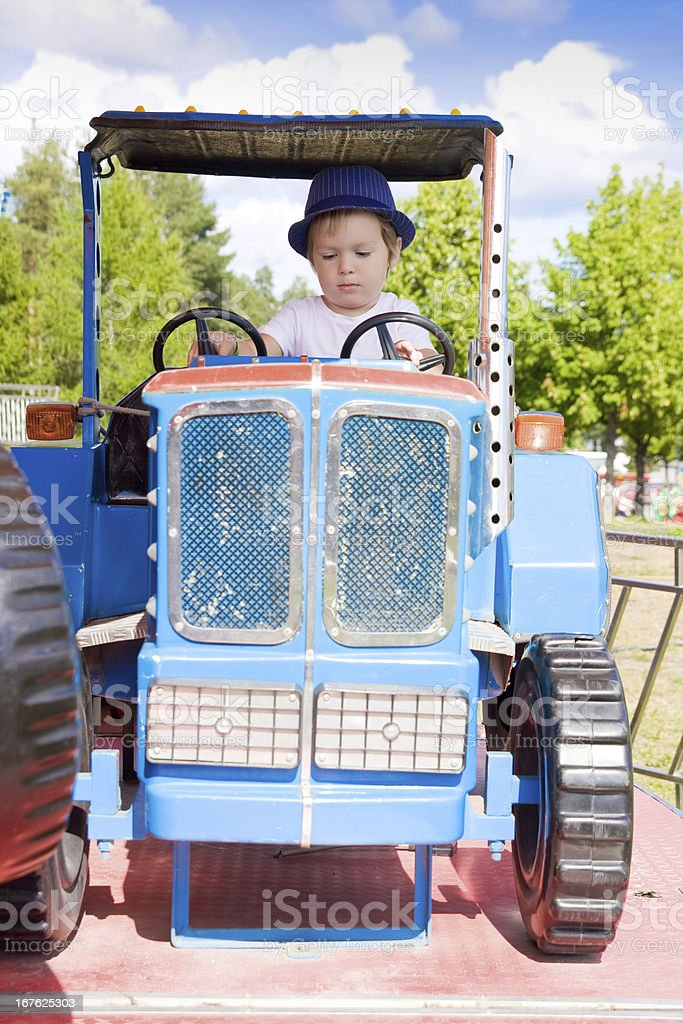Little Farmer on Tractor royalty-free stock photo