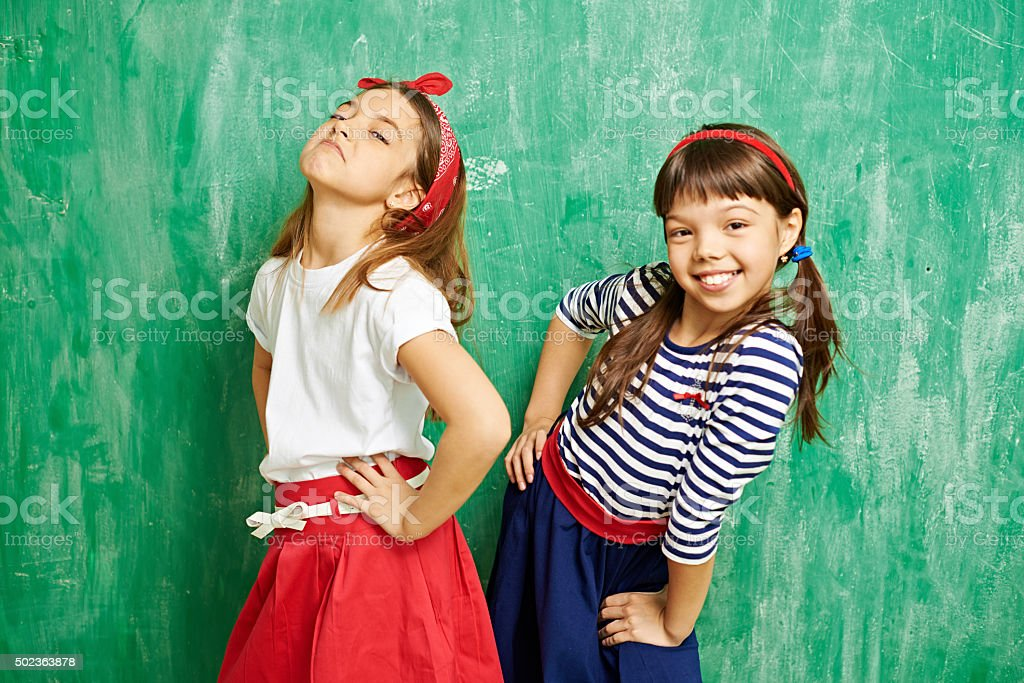Little fashion models stock photo